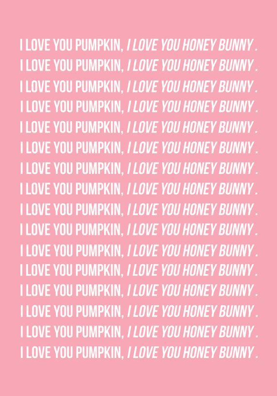 Honey Bunny Pulp Fiction Quote Printable Poster Pink wall