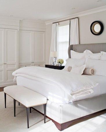 Simple: Grey Bedrooms, Closet Doors, Wingback Headboards, Bedrooms Design, White Beds, White Bedrooms, Master Bedrooms, Bedrooms Ideas, Upholstered Beds