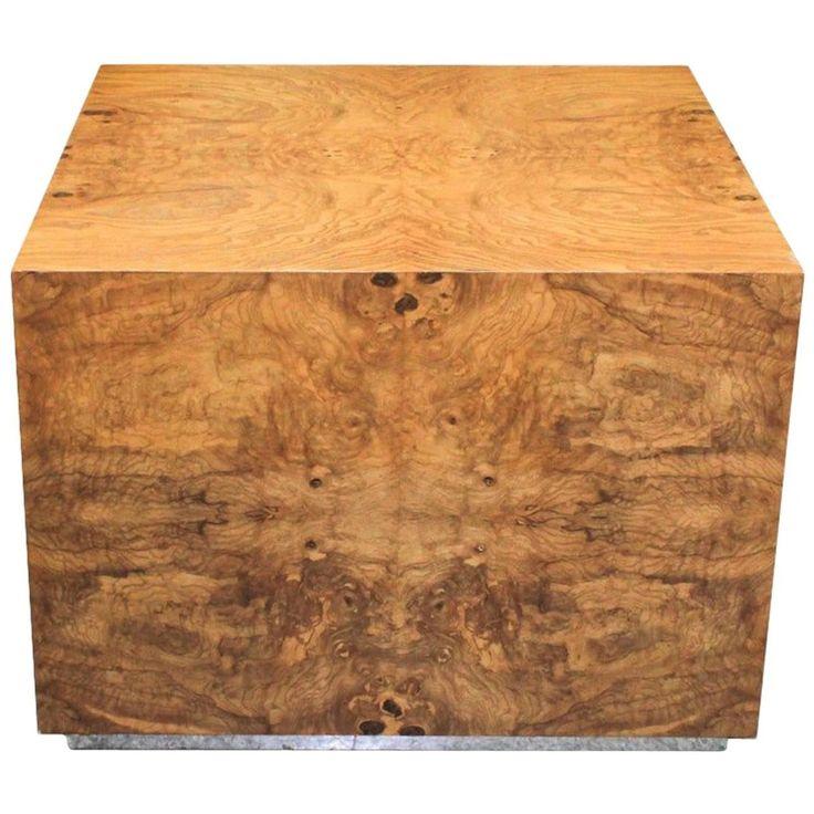 Milo Baughman Midcentury Burlwood Cube Coffee Table