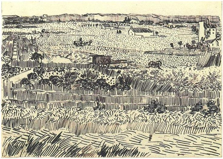 Vincent Van Gogh landscape drawing.