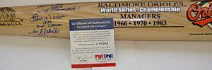 EARL WEAVER,HANK BAUER,AUTOGRAPH BAT PSA/DNA . $210.00. THIS IS FOR A AUTOGRAPH COOPERSTOWN BAT CO. BALTIMORE ORIOLES WORLD SERIES CHAMPIONSHIP MANAGERS BAT. SIGNED BY THE FOLLOWING 3 ORIOLES MANAGERS. HANK BAUER 1966 WS CHAMPS,EARL WEAVER 1970 WS CHAMPS,JOE ALTOBELLI 1983 WS CHAMPS. THE BAT IS SIGNED IN BLUE SHARPIE. ON THE KNOB OF THE BAT IT HAS PROOF. THE BAT IS PSA/DNA AUTHNICATED. COMES WITH A CERT FROM PSA/DNA.  PLEASE SEE SCAN
