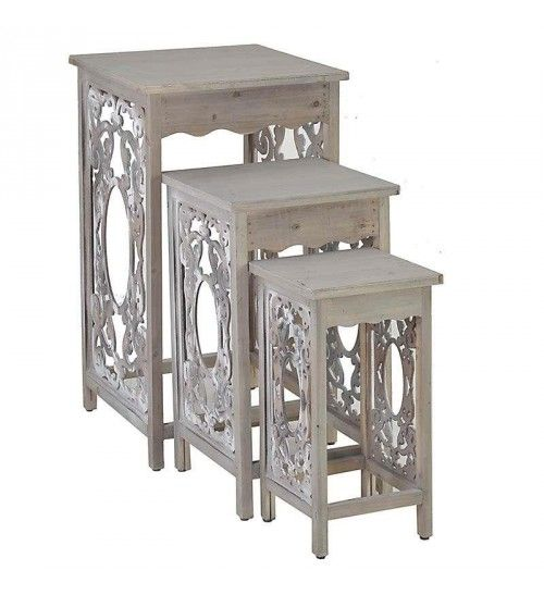 S_3 WOODEN FLOWER STAND IN BEIGE COLOR 45X47X80