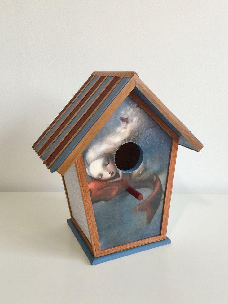 Casa de pájaros hechas en madera de ColorfulWoodStore en Etsy