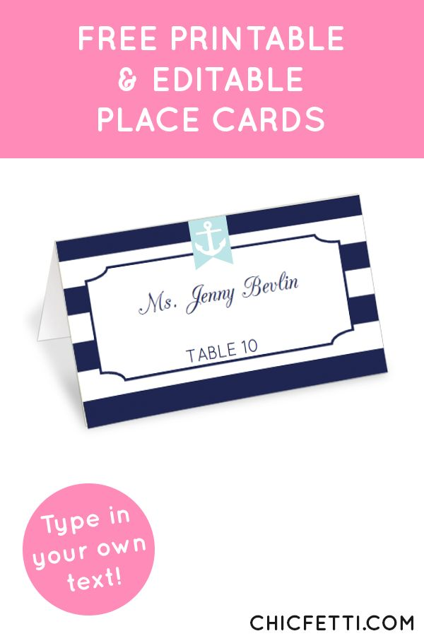 Free Printable Nautical Place Cards from @chicfetti - perfect for weddings or parties!