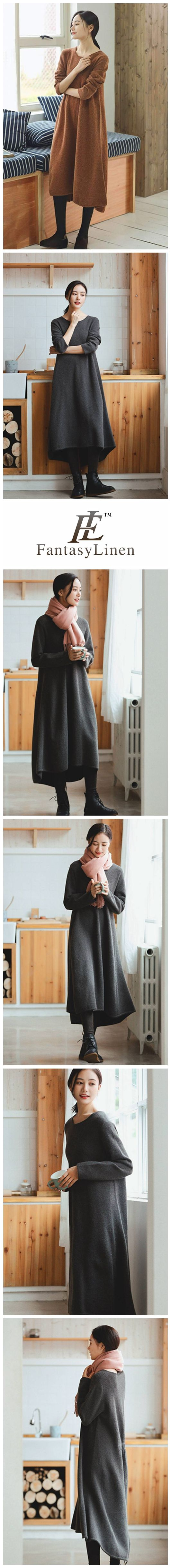 Gray Maxi Loose Wool Knitted Long Sweater Dress in Autumn/Winter   Q2731Gray