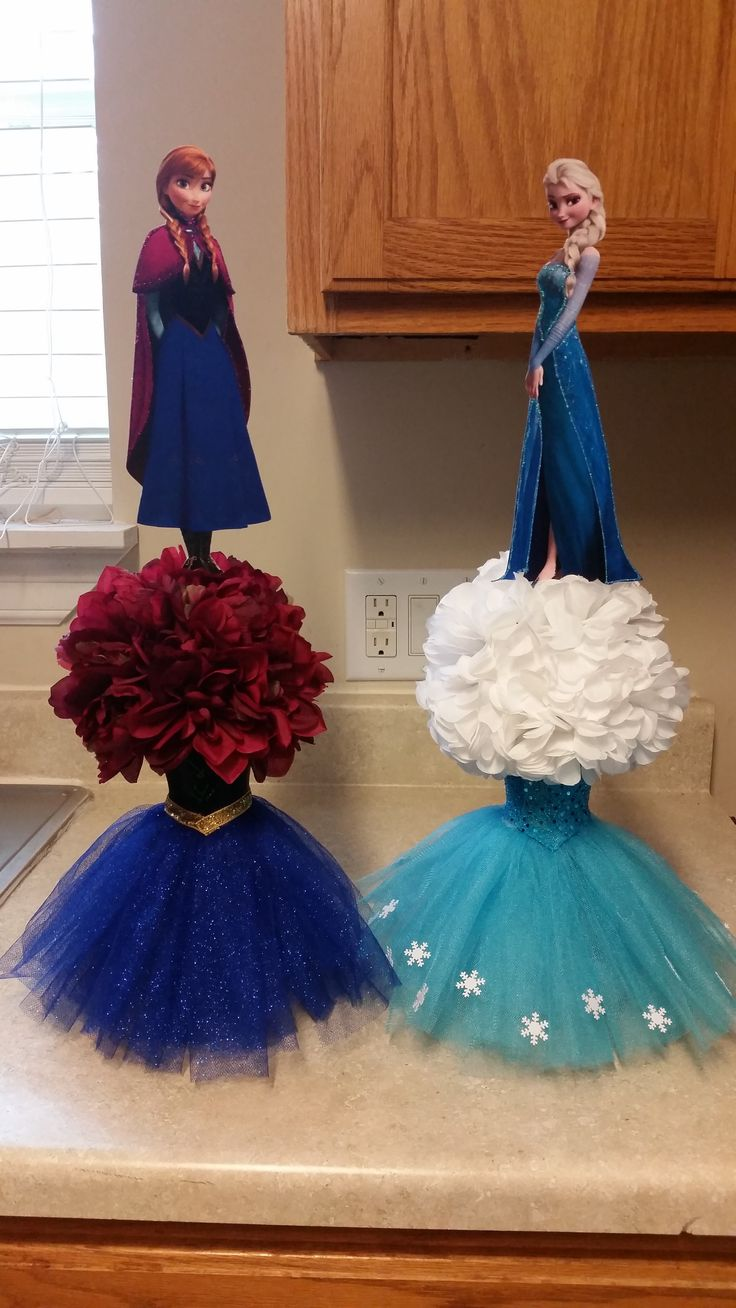 Frozen centerpieces for my daughters 5th bday