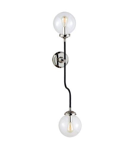 Visual Comfort Studio Bistro 2 Light Decorative Wall Light in Polished Nickel with Clear Glass Shade S2022PN-CG #visualcomfort #lightingnewyork #lighting