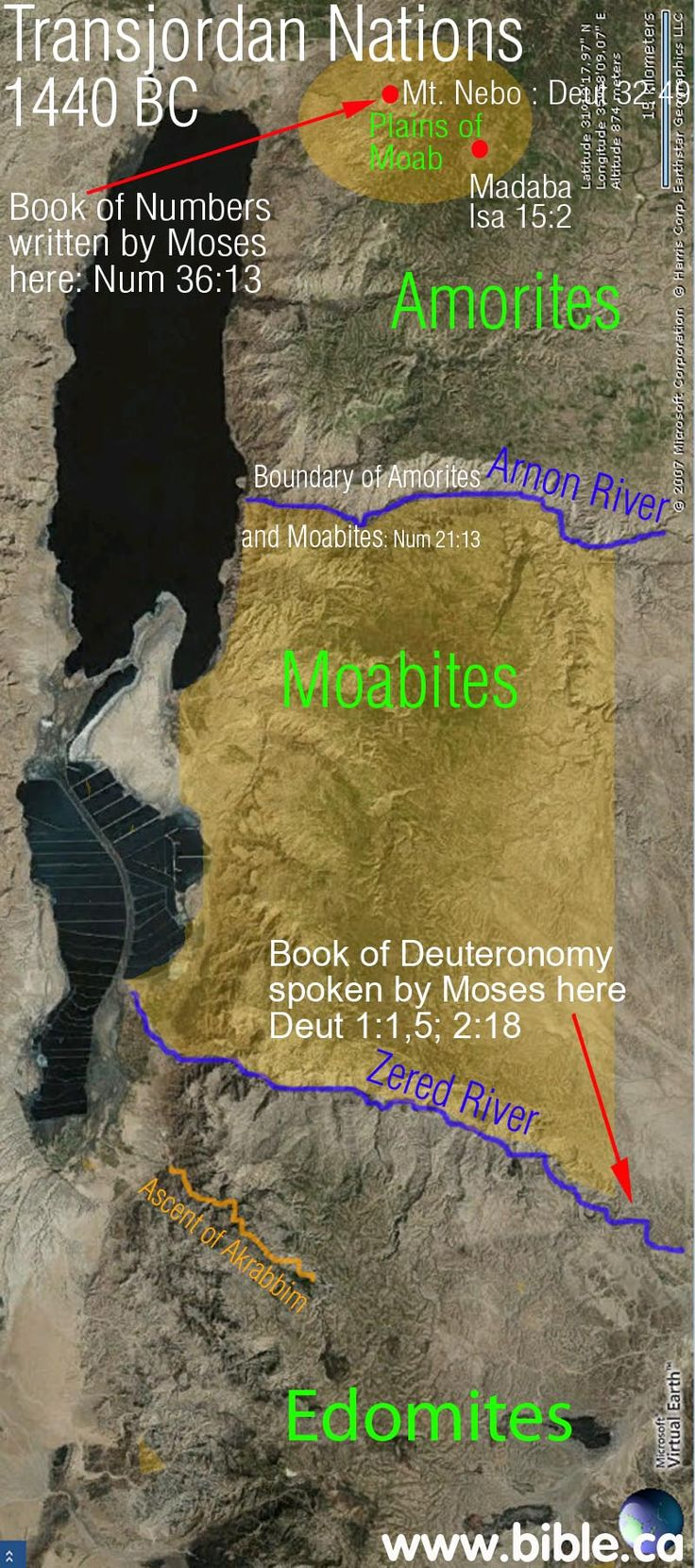 "This is how the three nations looked at the time of the exodus when Israel spent 38 years at Kadesh near Petra.  Israel asked permission of Edom and Moab to cross their territory to go north and cross the Jordan river into the promised land and was refused: ""For when they came up from Egypt, and Israel went through the wilderness to the Red Sea and came to Kadesh, then Israel sent messengers to the king of Edom, saying, ""Please let us pass"