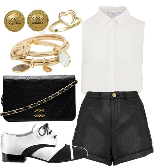 Untitled #43 by wanderrlussst featuring leather shortsCream shirt, $21 / Topshop leather shorts / Chanel vintage leather handbag, $2,295 / Bangle jewelry, $145 / Ariella Collection clover jewelry