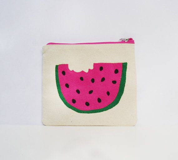 Watermelon slice pouch made of Heavy duty canvas by Apopsis