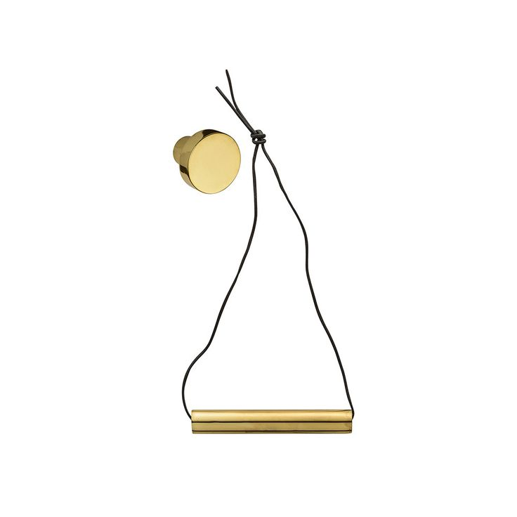 Discover+the+Bloomingville+Hanging+Gold+Toilet+Roll+Holder+with+Leather+Strap+at+Amara