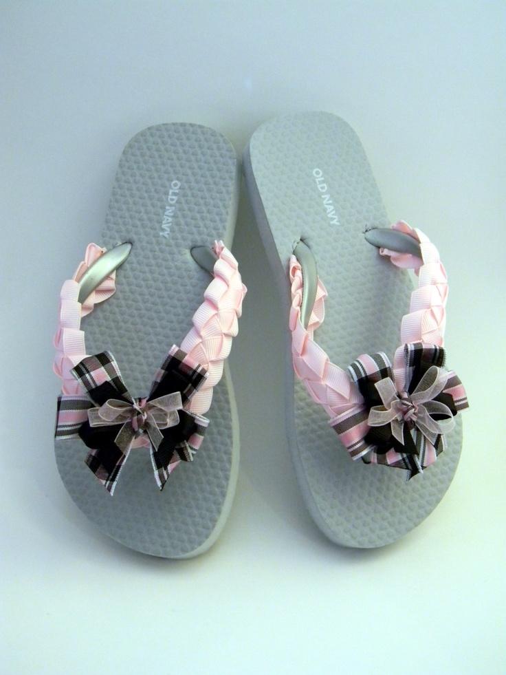 Girls Youth Size 1/2 Braided Flip-Flops. $15.00, via Etsy.