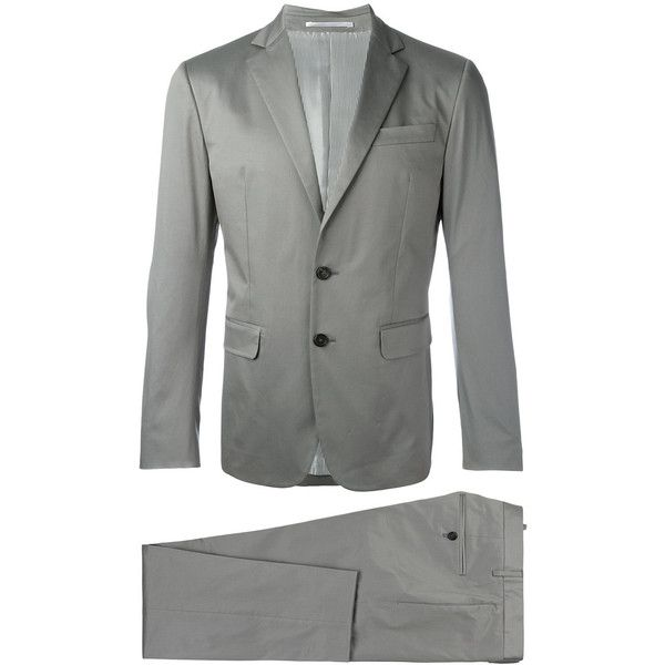 Dsquared2 Formal Suit ($1,103) ❤ liked on Polyvore featuring men's fashion, men's clothing, men's suits, mens grey suits, mens gray suit, mens formal suits and mens 3 button suits