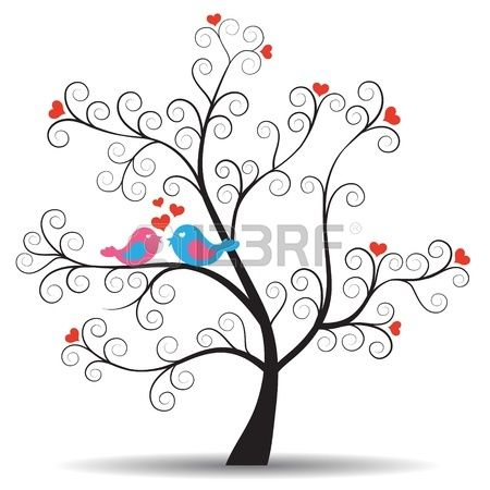 Árbol romántico con las aves pareja en el amor Foto de archivo - 13769293
