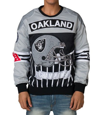 STARTER+Pullover+heavy+sweater+Zipper+detail+Ribbed+collar,+hem+and+cuffs+Embroidered+Raiders+logo+NFL+Oakland+Raiders+Light+jacket+NFL+patch+on+sleeve+Oakland+Raiders+graphic+on+back+Jimmy+Jazz+exclusive