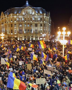 A protest rally in Timisoara, Romania against the proposed decriminalisation of minor corruption offences.