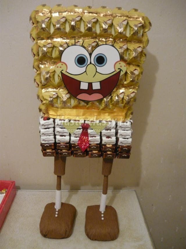 Spongebob out of Candies - step by step Photo tutorial - Bildanleitung - детские подарки из конфет. Губка Боб