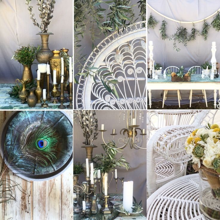 Hens Teeth Trading's elegant wedding pieces. Create your look with tarnished vintage wares, white wicker and rustic foliage.