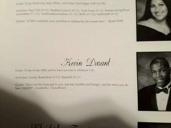 Kevin Durant's high school year book photo. Talk about living up to your yearbook quote...
