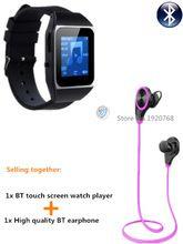 8 GB relógio MP4 player + Bluetooth fones de ouvido, bluetooth esporte fone de ouvido fones de ouvido sem fio + bluetooth relógio do esporte MP4 players