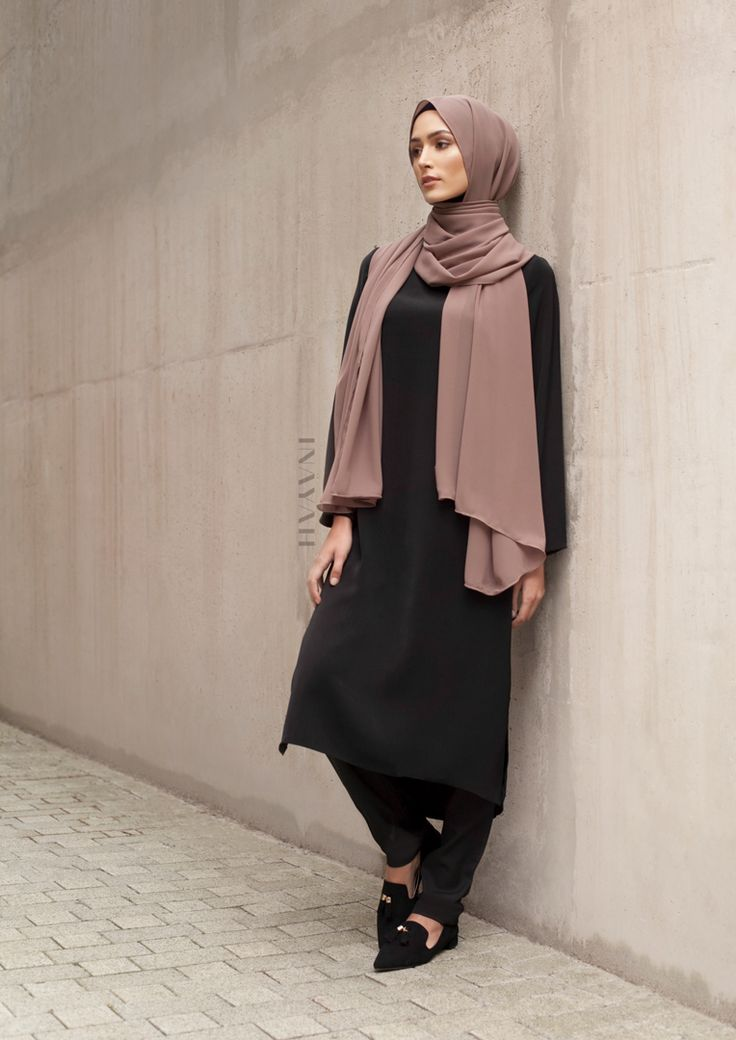 INAYAH | Simple classics - Black Crepe Midi Dress + Black Straight Leg Trousers + Pebble Soft Crepe Hijab www.inayah.co