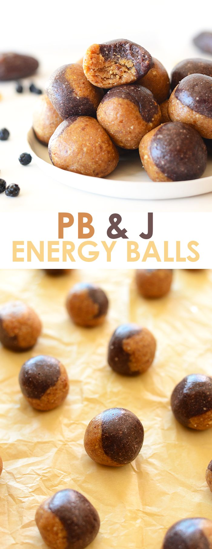 These no-bake peanut butter and jelly inspired energy balls are a healthy grab and go snack made with dried fruit and nuts!