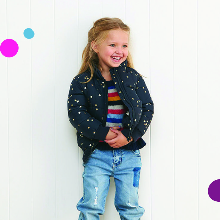 Keep it warm and stylish in the Jamie Bomber Jacket. This Girls Puffer Jacket features a high neck double collar, exposed front zip with 2 welt pockets and ribbed cuffs and hems. Fully lined with inner wadding this jacket will keep you cosy.