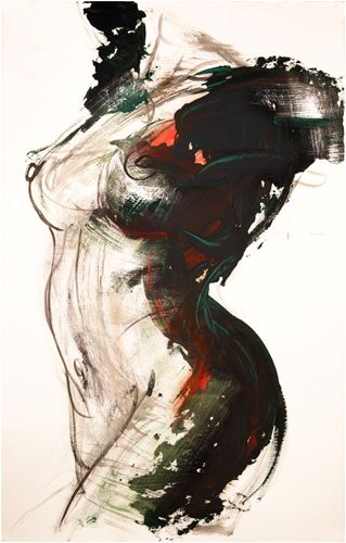 Drawings | Corno | Female Torso with Green - DR043  26 in x 40 in Acrylic Wash on Arches paper