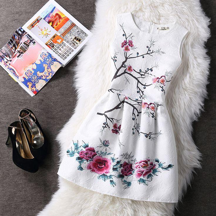 2016 Women Summer A-line Dress Vintage Printed Sexy Sleeveless Party Vestido De Festa Female Clothing Jacquard Dresses SXDRS96