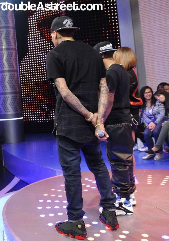 Chris Brown Photoshop: Wearing Jordan 13 Black/Red leather