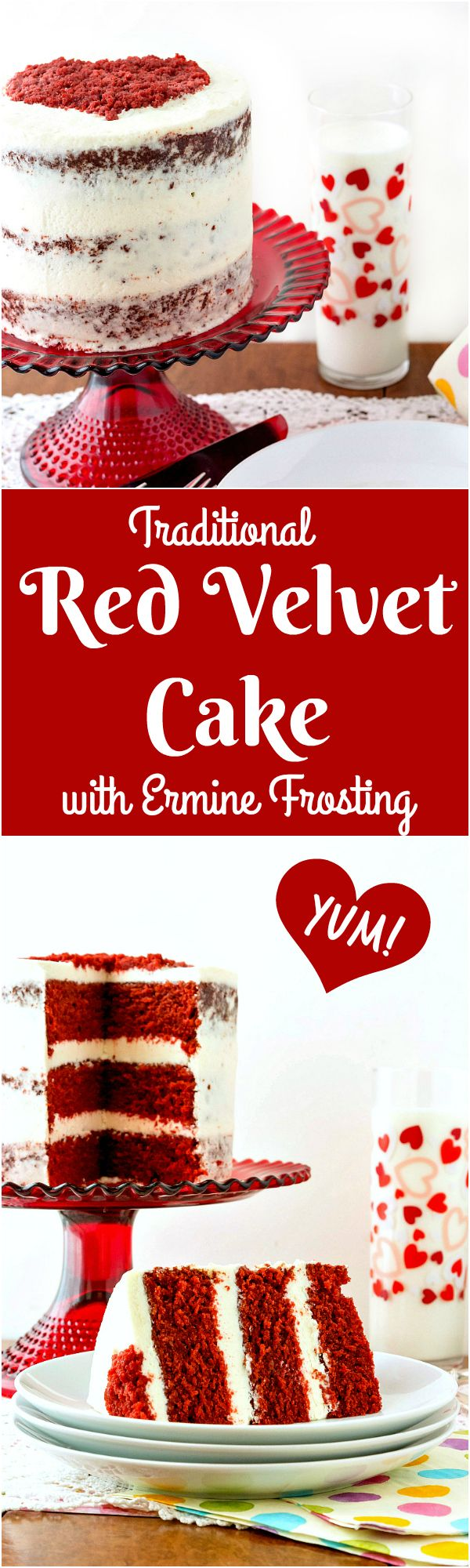 This traditional red velvet cake with ermine frosting is the perfect Valentine's Cake recipe. Make one for your sweetie. You'll love the smooth and creamy ermine frosting!   pastrychefonline.com