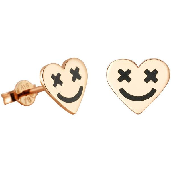 Full Heart Smiley Ear Stud Black ($290) ❤ liked on Polyvore featuring jewelry, earrings, 18k earrings, 18k jewelry, black jet jewelry, black earrings and heart shaped jewelry