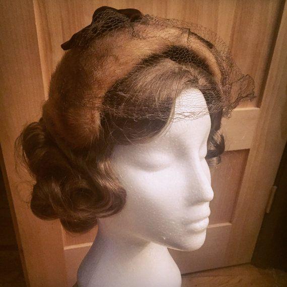 Vintage 1950s Fur Bandeau Hat with Velvet by TuckedAwayAntiques