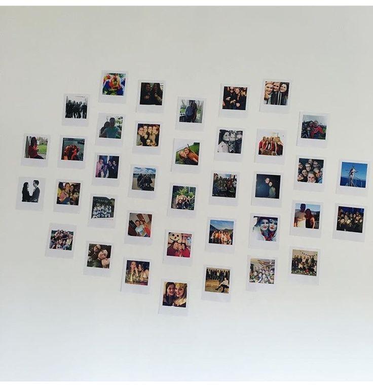 Mijn favorieten foto's van mooie momenten uitgeprint en in een hartvorm op de muur gehangen van mijn slaapkamer!