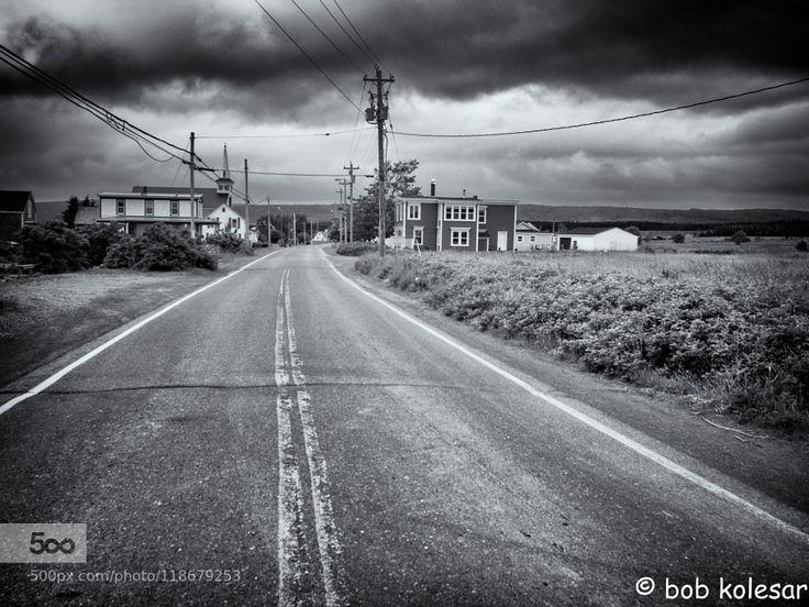 Small Town - Pinned by Mak Khalaf Shot in Advocate Harbor Nova Scotia (Bay of Fundy) Black and White CanadaNova Scotiablack and whitebulldingscloudsmonochromeroadskystreettraveltowhn by bobkolesar