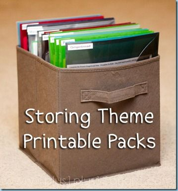 It took me years to develop a method of storing our them printables.  Tot Packs, Preschool Packs, Kindergarten Packs…anything that revolved around a theme.  Many of these themes are used again, and a lot of work goes into prepping many of the printables.  The worst thing is knowing you have already prepped and laminated something and then not be able to find it.  I no longer have that problem, and haven't had it for over a year since we have been using this method!
