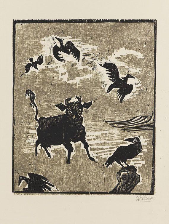 Pankok, Otto  Kuh und Krähen, 1958.