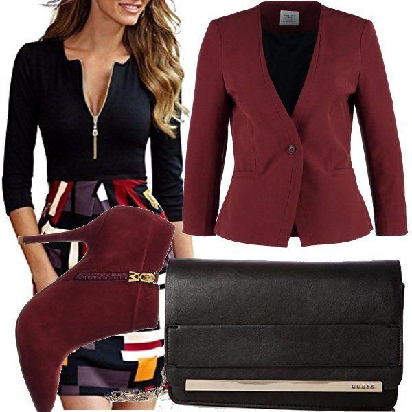 Un+po'+di+colore,+non+guasta+in+questo+inizio+autunno,+rosso,+giallo,+bianco+i+colori+primari+di+questo+vestito,+scarpe+e+borsa,+color+rosso+vino,+pochette+nera!
