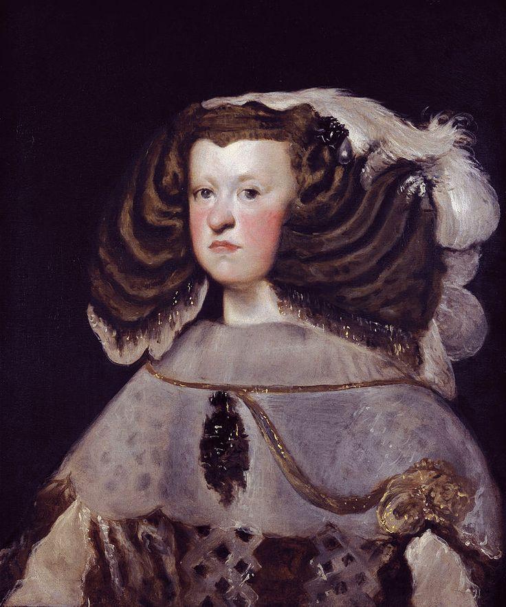 Марианна Австрийская,Диего Веласкес, 1655,Thyssen-(23.12.1634,Вена-16.05.1696, Мадрид)исп.кор.,2ая жена Фил.IV,мать КарлаII,посл.исп.короля из дин.Габсбургов, сестра Ферд-да IV и Леопольда I.В 1668г.в её честь острова в сев.част.Тихого океана наз.Марианскими.Родит-ми ее были имп. Фердинанд III и его 1ая жена Марианна, исп.инфанта,дочь кор.Филиппа III. Марианна-их ст.дочь.Род.при дворе св. деда,Фердинанда II.Её отец,став.имп-ром в 1637г.,бол.часть врем.нах.вдали от семьи, участ.в 30лет.войне.