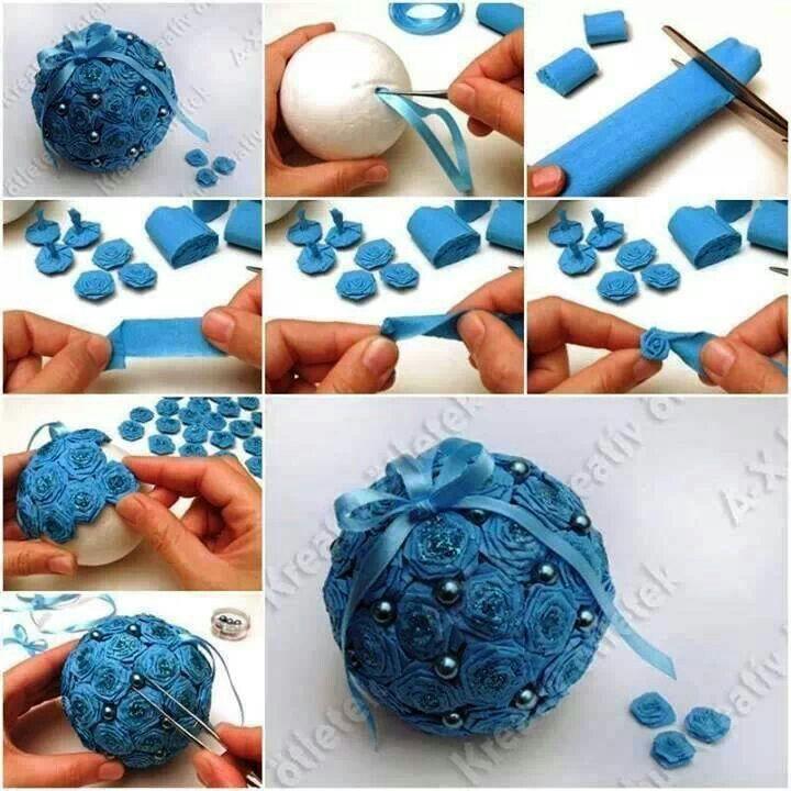 palla di polistirolo con roselline