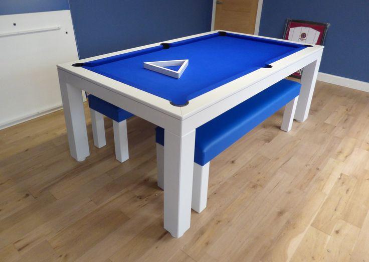 6ft English Contemporary Pool Table. Oak Colour #E8 (White) Matt, Hainsworth Smart Royal Blue Cloth, Elastic Pockets, Leg Design #1. Matching Blue Faux Leather Benches.