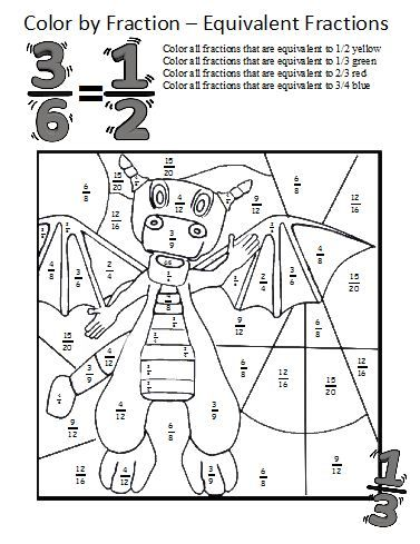 Equivalent fractions worksheets these coloring sheets make learning