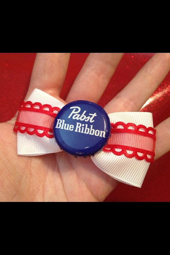 PBR Pabst Blue Ribbon White Red Scalloped Hair by ClassyNTrashy, $6.00