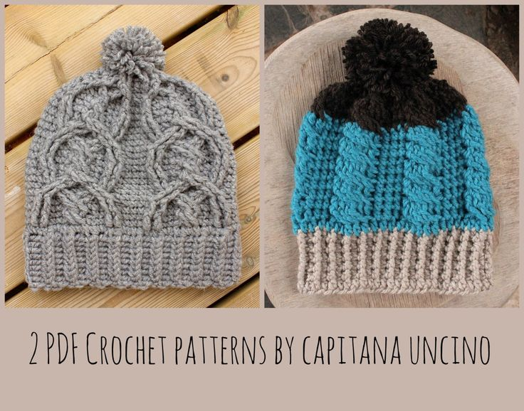 2 PDF-files, Crochet  PATTERNS for Cable Beanie and Alisha Cable beanie, Slouchy, Surfer beanie, pompom by CapitanaUncino on Etsy