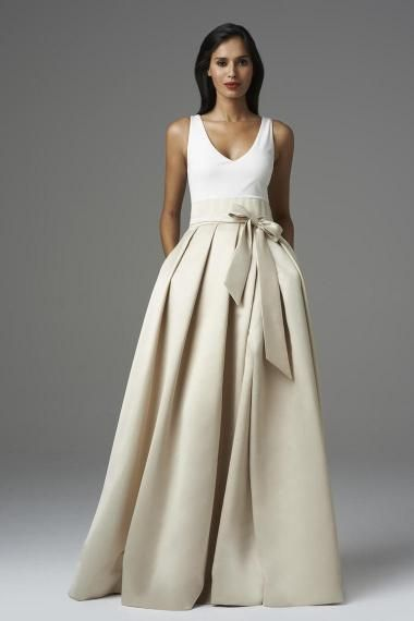 Maxi Bridesmaid Dresses Two-Toned Inspired by Aidan Mattox A Line Satin V Neck Floor Length Long Prom Dresses DHYZ 01