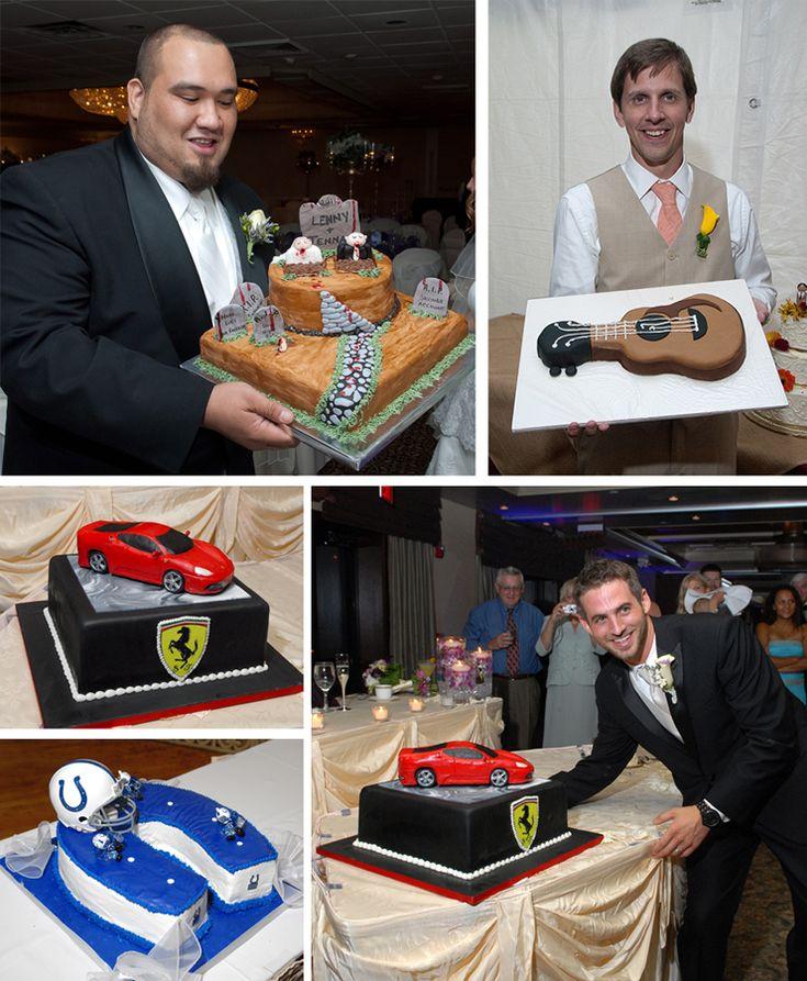 Cool groom's cakes for your wedding.  Cakes include a car, Ferrari, guitar, Halloween theme, and football theme.