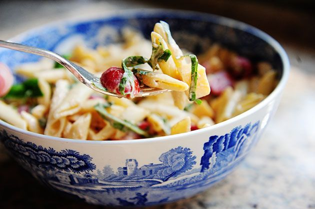 Spicy Pasta Salad with Smoked Gouda, Tomatoes, and Basil.  Tomatoes get a little weird when the pasta salad is kept in the fridge overnight. Consider keeping them out if you don't plan to eat all of it at once.