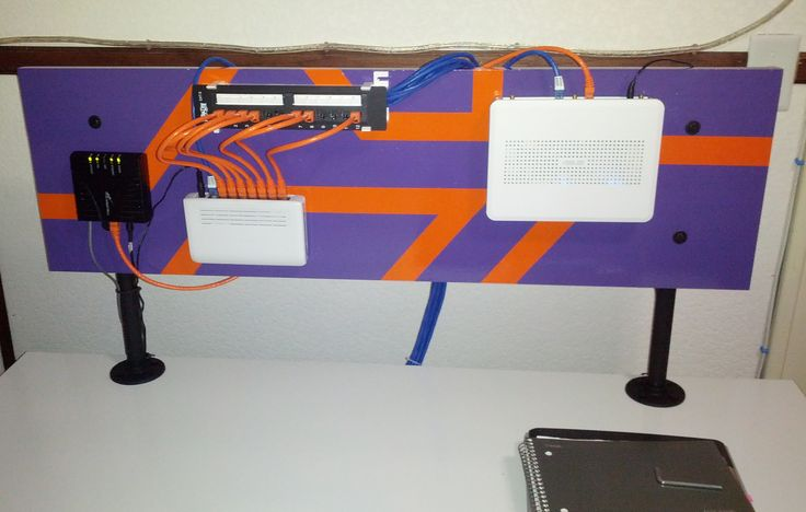Small scale wiring back plane. On the back of my desk. Simple and clean. Houses DSL modem, router, switch and punch panel.