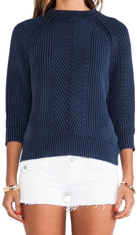 Diagonal rib knit top