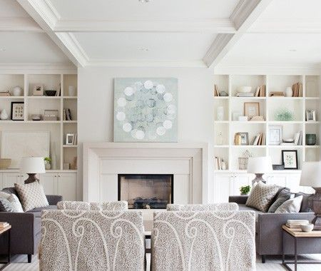 furniture layout, boxed beams   Kelly Deck's Interiors | House & Home